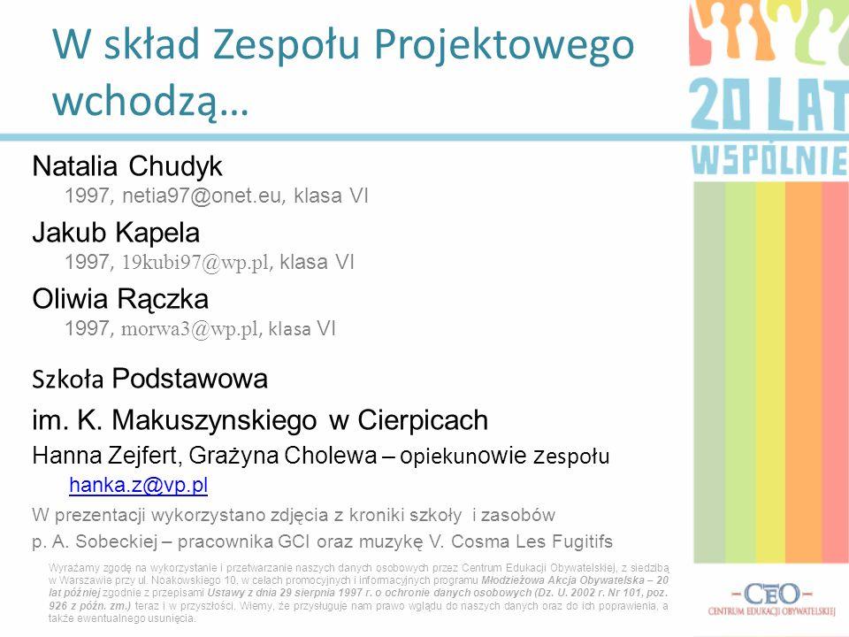 Natalia Chudyk 1997, netia97@onet.eu, klasa VI Jakub Kapela 1997, 19kubi97@wp.pl, klasa VI Oliwia Rączka 1997, morwa3@wp.pl, klasa VI Szkoła Podstawow