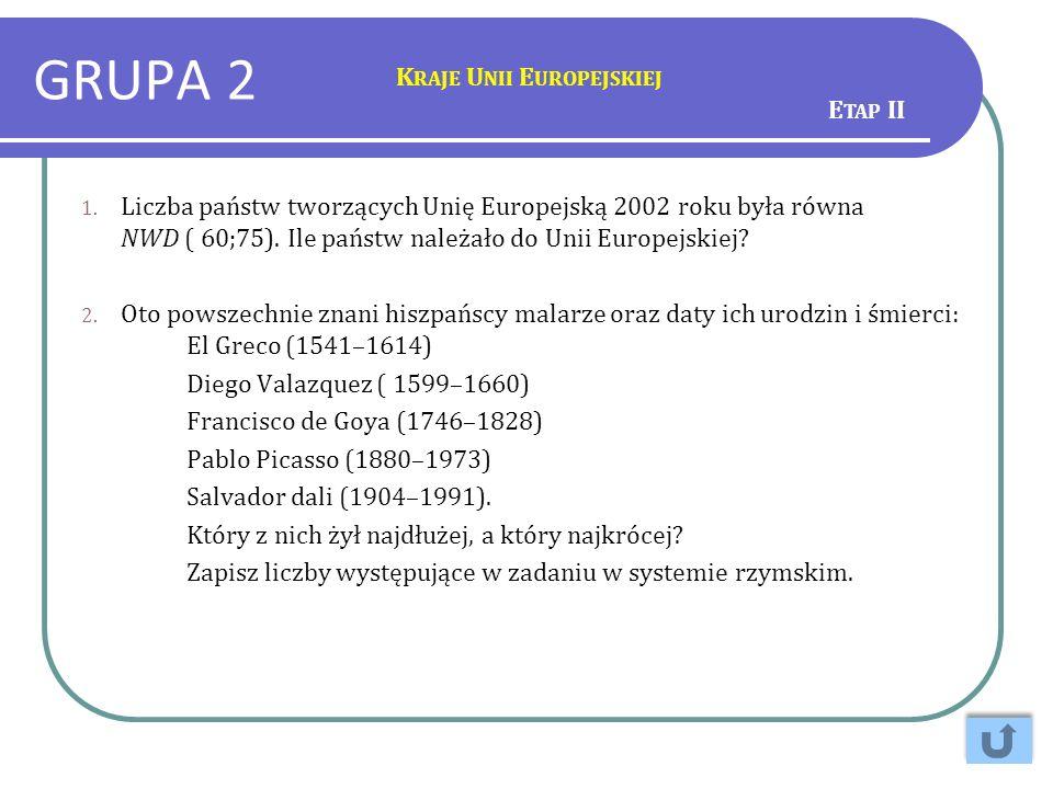 GRUPA 2 1. Liczba państw tworzących Unię Europejską 2002 roku była równa NWD ( 60;75). Ile państw należało do Unii Europejskiej? 2. Oto powszechnie zn