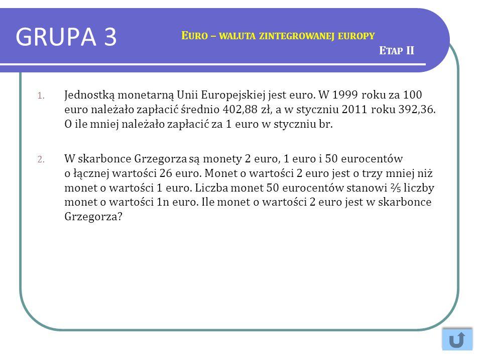GRUPA 3 1. Jednostką monetarną Unii Europejskiej jest euro. W 1999 roku za 100 euro należało zapłacić średnio 402,88 zł, a w styczniu 2011 roku 392,36