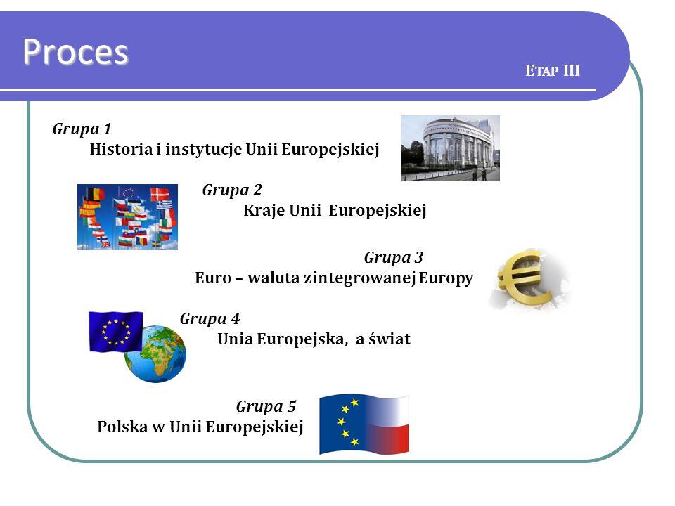 Grupa 1 Historia i instytucje Unii Europejskiej Grupa 2 Kraje Unii Europejskiej Grupa 3 Euro – waluta zintegrowanej Europy Grupa 4 Unia Europejska, a