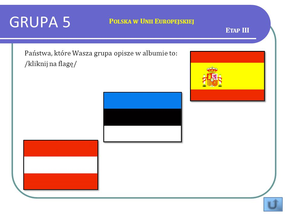 GRUPA 5 P OLSKA W U NII E UROPEJSKIEJ Państwa, które Wasza grupa opisze w albumie to: /kliknij na flagę/ E TAP III