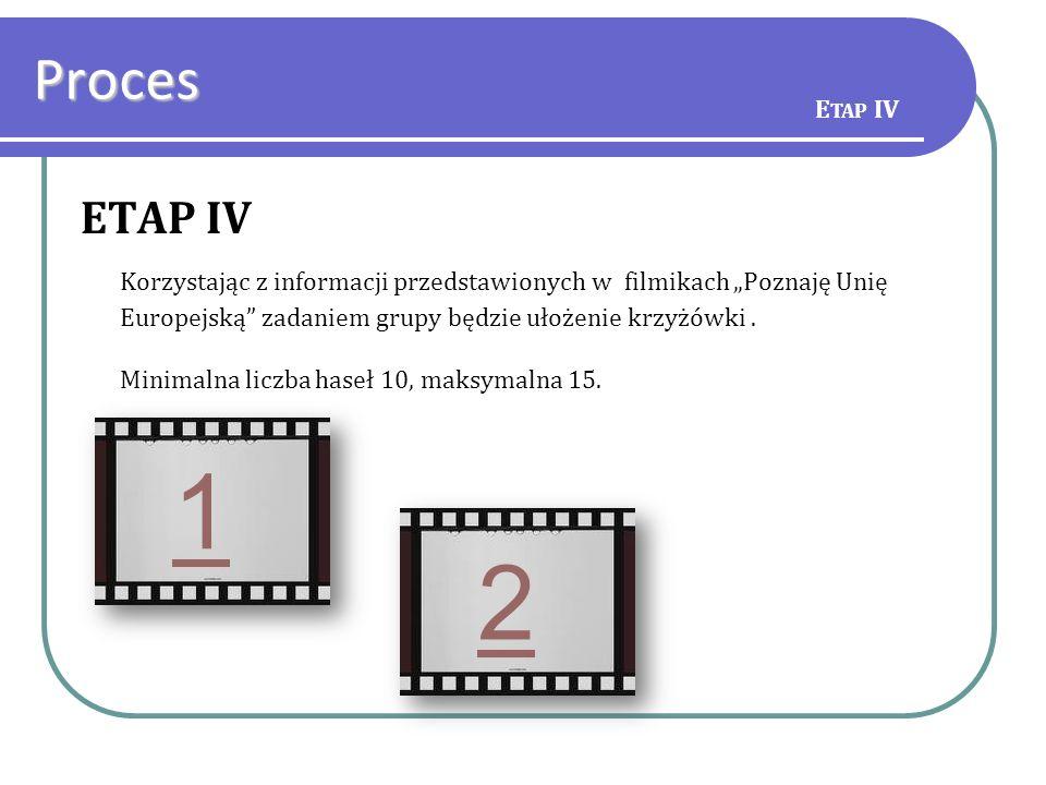 ETAP IV Korzystając z informacji przedstawionych w filmikach Poznaję Unię Europejską zadaniem grupy będzie ułożenie krzyżówki. Minimalna liczba haseł