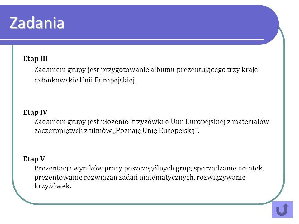 Etap III Zadaniem grupy jest przygotowanie albumu prezentującego trzy kraje członkowskie Unii Europejskiej. Etap IV Zadaniem grupy jest ułożenie krzyż
