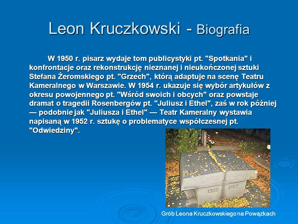 Leon Kruczkowski - Biografia W 1950 r.pisarz wydaje tom publicystyki pt.