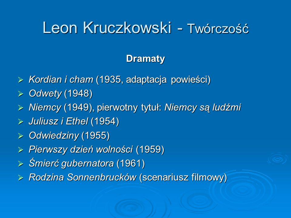 Leon Kruczkowski - Twórczość Dramaty Kordian i cham (1935, adaptacja powieści) Kordian i cham (1935, adaptacja powieści) Odwety (1948) Odwety (1948) Niemcy (1949), pierwotny tytuł: Niemcy są ludźmi Niemcy (1949), pierwotny tytuł: Niemcy są ludźmi Juliusz i Ethel (1954) Juliusz i Ethel (1954) Odwiedziny (1955) Odwiedziny (1955) Pierwszy dzień wolności (1959) Pierwszy dzień wolności (1959) Śmierć gubernatora (1961) Śmierć gubernatora (1961) Rodzina Sonnenbrucków (scenariusz filmowy) Rodzina Sonnenbrucków (scenariusz filmowy)