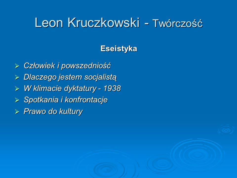 Leon Kruczkowski - Twórczość Eseistyka Człowiek i powszedniość Człowiek i powszedniość Dlaczego jestem socjalistą Dlaczego jestem socjalistą W klimacie dyktatury - 1938 W klimacie dyktatury - 1938 Spotkania i konfrontacje Spotkania i konfrontacje Prawo do kultury Prawo do kultury