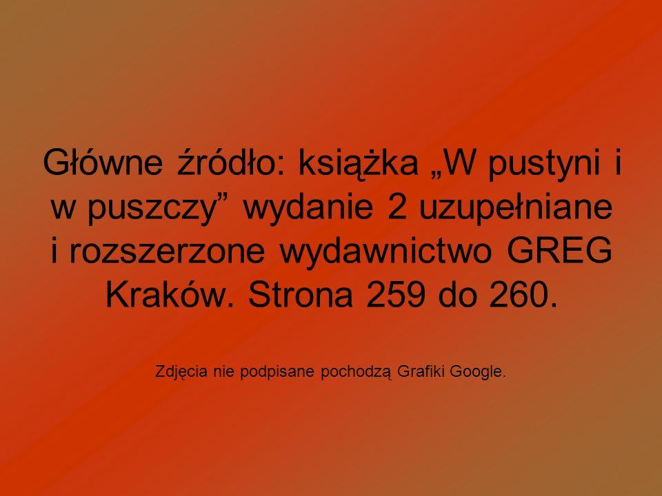 Główne źródło: książka W pustyni i w puszczy wydanie 2 uzupełniane i rozszerzone wydawnictwo GREG Kraków. Strona 259 do 260. Zdjęcia nie podpisane poc