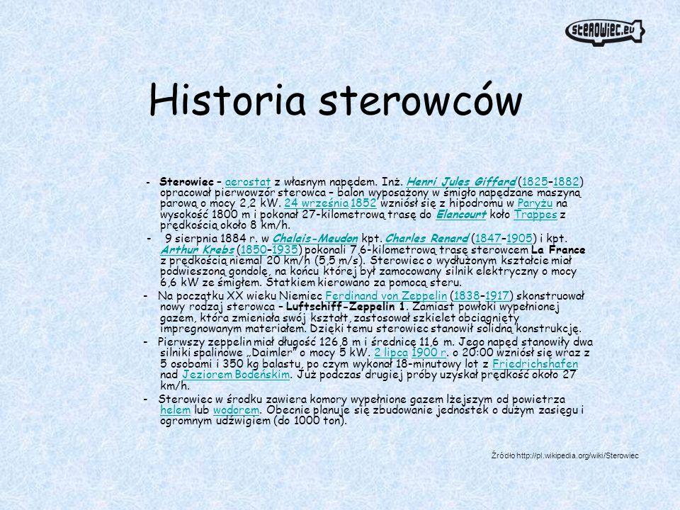 Historia sterowców - Sterowiec – aerostat z własnym napędem. Inż. Henri Jules Giffard (1825–1882) opracował pierwowzór sterowca – balon wyposażony w ś