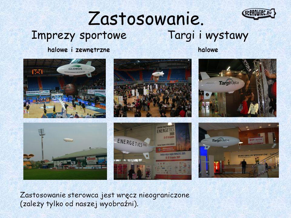 Zastosowanie. Imprezy sportowe halowe i zewnętrzne Targi i wystawy halowe Zastosowanie sterowca jest wręcz nieograniczone (zależy tylko od naszej wyob