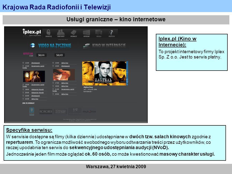Krajowa Rada Radiofonii i Telewizji Warszawa, 27 kwietnia 2009 Usługi graniczne – kino internetowe Iplex.pl (Kino w Internecie): To projekt internetow