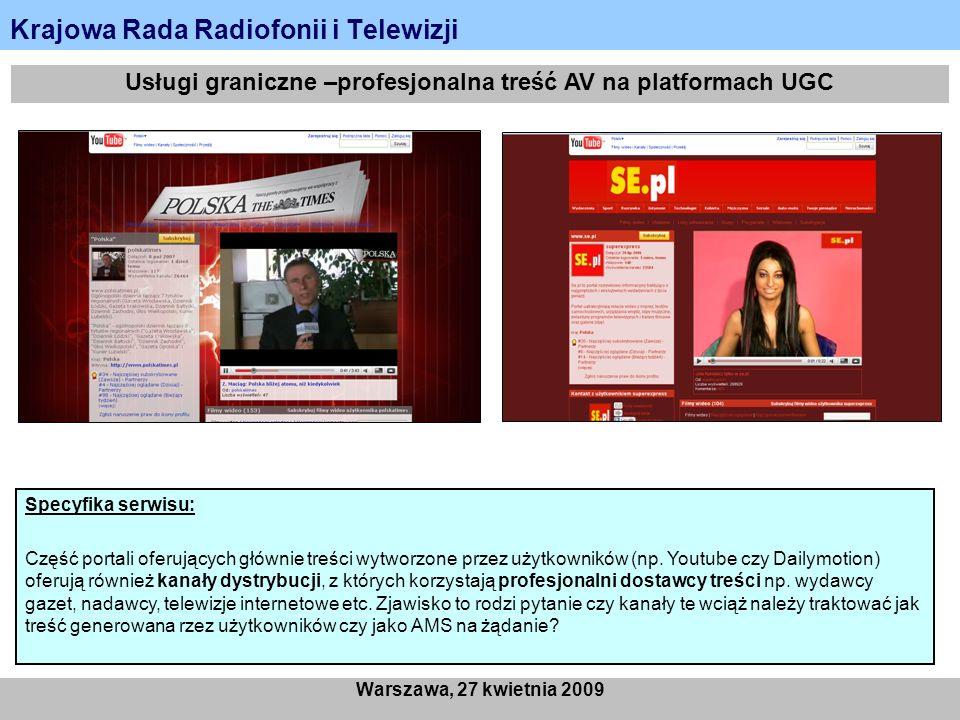 Krajowa Rada Radiofonii i Telewizji Warszawa, 27 kwietnia 2009 Usługi graniczne –profesjonalna treść AV na platformach UGC Specyfika serwisu: Część portali oferujących głównie treści wytworzone przez użytkowników (np.