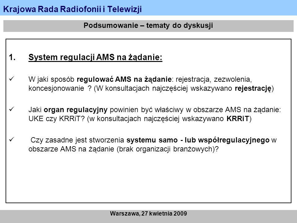 Krajowa Rada Radiofonii i Telewizji Warszawa, 27 kwietnia 2009 Podsumowanie – tematy do dyskusji 1.System regulacji AMS na żądanie: W jaki sposób regulować AMS na żądanie: rejestracja, zezwolenia, koncesjonowanie .