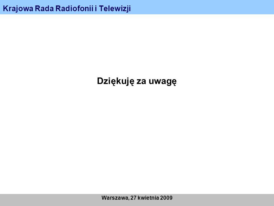 Krajowa Rada Radiofonii i Telewizji Warszawa, 27 kwietnia 2009 Dziękuję za uwagę