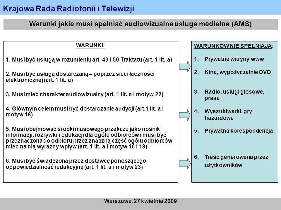 Krajowa Rada Radiofonii i Telewizji Warszawa, 27 kwietnia 2009 Warunki jakie musi spełniać audiowizualna usługa medialna (AMS) WARUNKI: 1. Musi być us