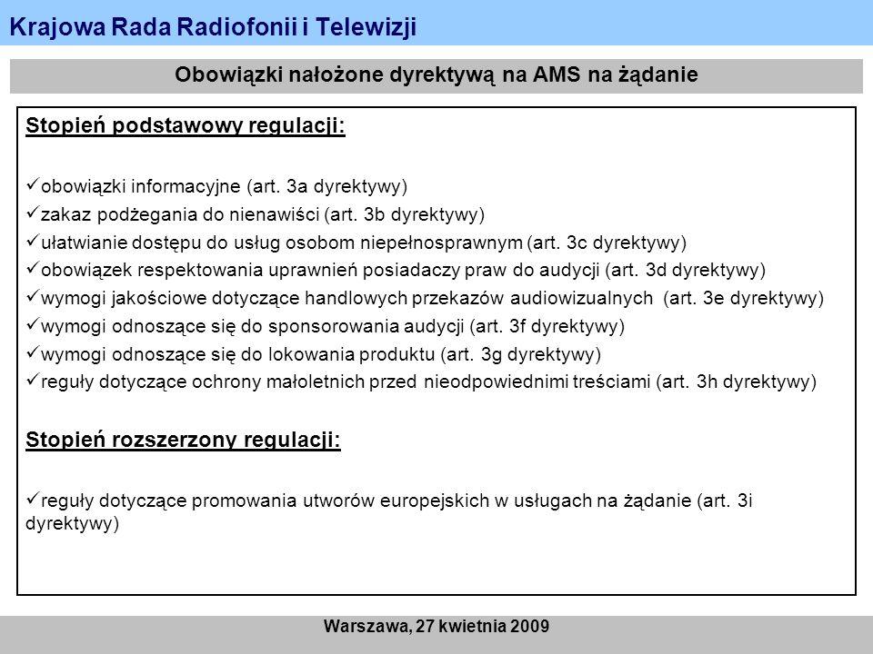 Krajowa Rada Radiofonii i Telewizji Warszawa, 27 kwietnia 2009 Obowiązki nałożone dyrektywą na AMS na żądanie Stopień podstawowy regulacji: obowiązki