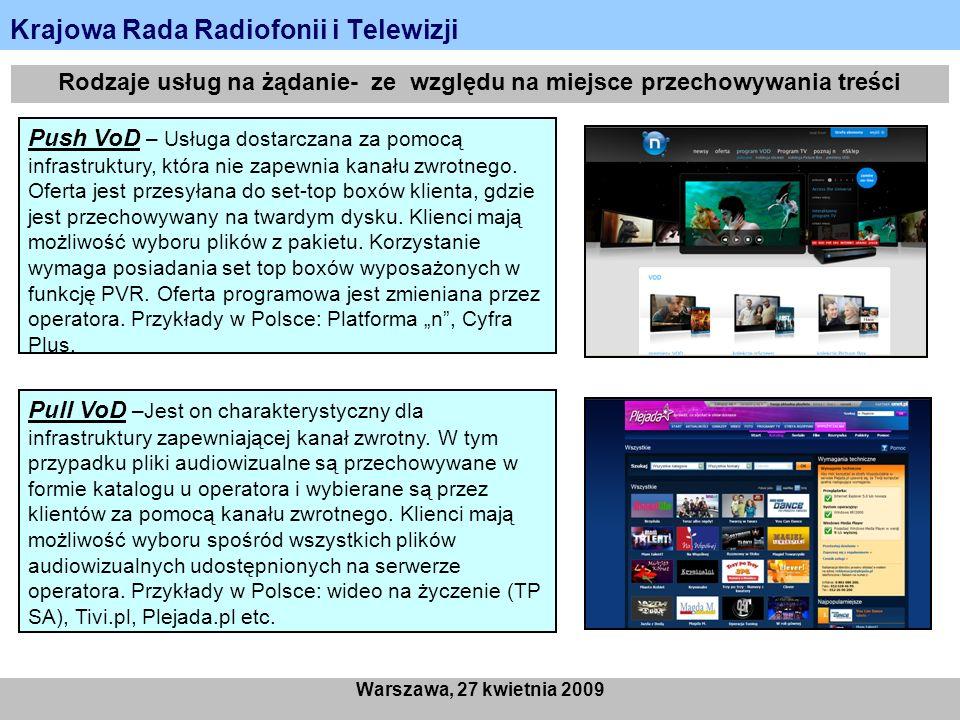Krajowa Rada Radiofonii i Telewizji Warszawa, 27 kwietnia 2009 Rodzaje usług na żądanie- ze względu na miejsce przechowywania treści Push VoD – Usługa dostarczana za pomocą infrastruktury, która nie zapewnia kanału zwrotnego.