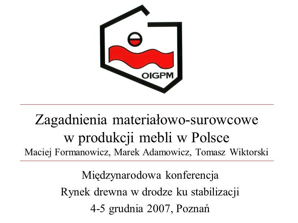 Zagadnienia materiałowo-surowcowe w produkcji mebli w Polsce Maciej Formanowicz, Marek Adamowicz, Tomasz Wiktorski Międzynarodowa konferencja Rynek dr