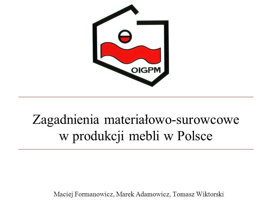 Zagadnienia materiałowo-surowcowe w produkcji mebli w Polsce Maciej Formanowicz, Marek Adamowicz, Tomasz Wiktorski