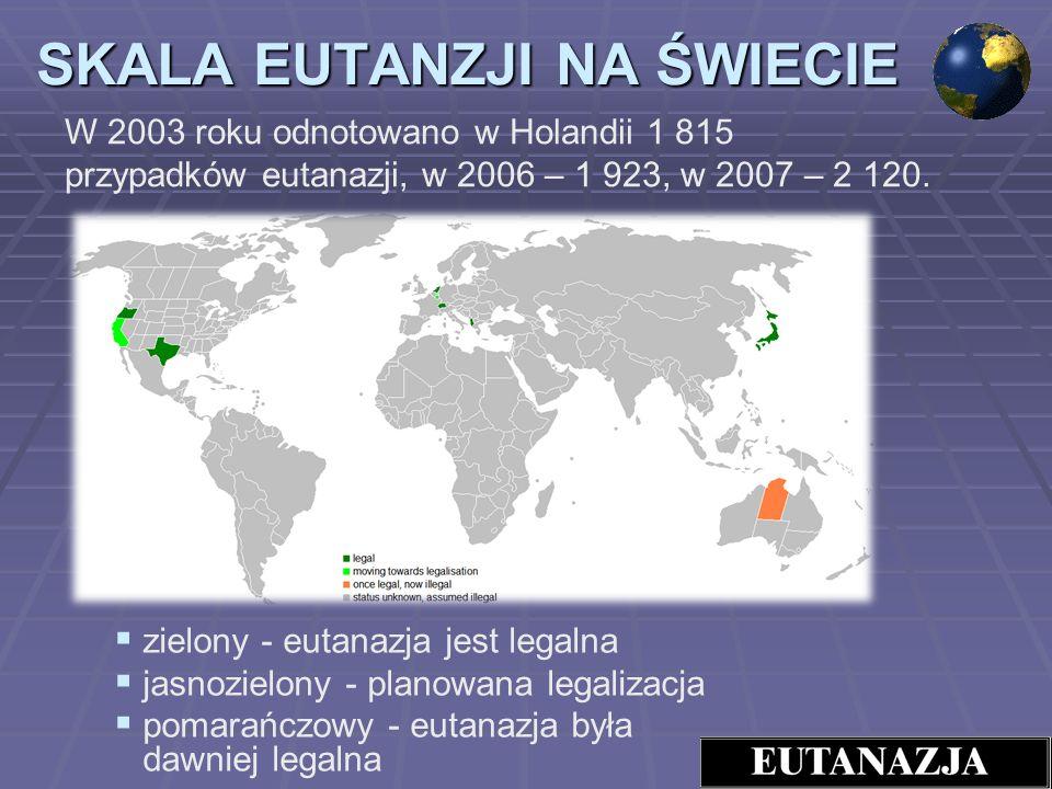 zielony - eutanazja jest legalna jasnozielony - planowana legalizacja pomarańczowy - eutanazja była dawniej legalna SKALA EUTANZJI NA ŚWIECIE W 2003 r