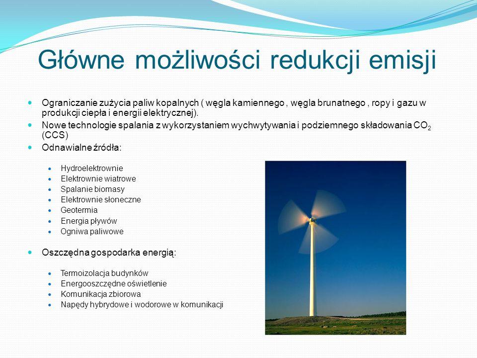 Główne możliwości redukcji emisji Ograniczanie zużycia paliw kopalnych ( węgla kamiennego, węgla brunatnego, ropy i gazu w produkcji ciepła i energii