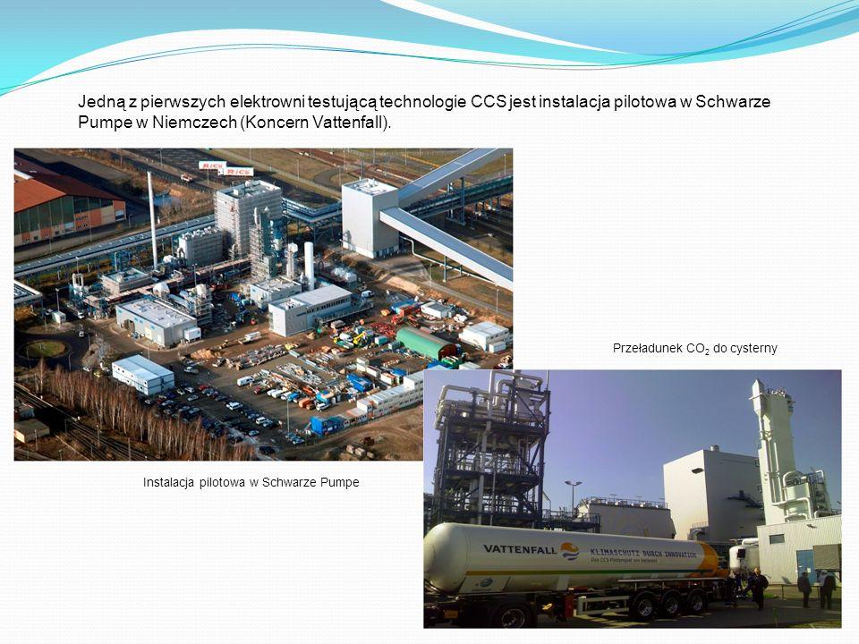 Jedną z pierwszych elektrowni testującą technologie CCS jest instalacja pilotowa w Schwarze Pumpe w Niemczech (Koncern Vattenfall). Instalacja pilotow