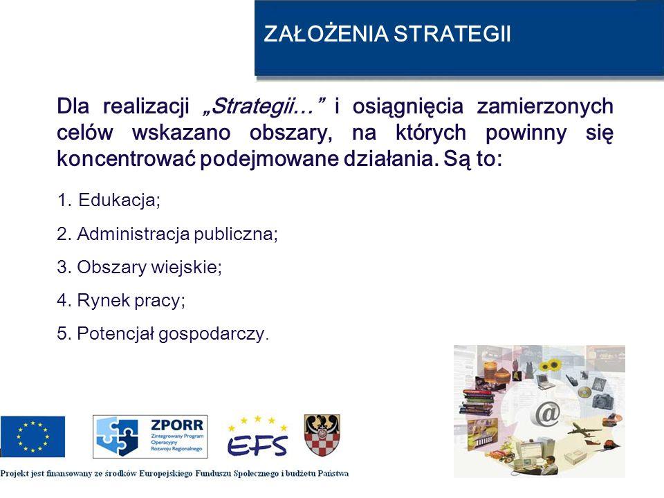 ZAŁOŻENIA STRATEGII Dla realizacji Strategii… i osiągnięcia zamierzonych celów wskazano obszary, na których powinny się koncentrować podejmowane dział