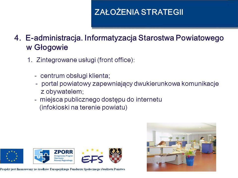 ZAŁOŻENIA STRATEGII 4. E-administracja. Informatyzacja Starostwa Powiatowego w Głogowie 1. Zintegrowane usługi (front office) : - centrum obsługi klie
