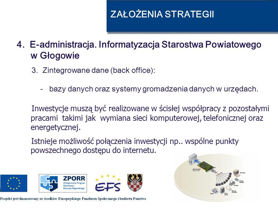 ZAŁOŻENIA STRATEGII 4. E-administracja. Informatyzacja Starostwa Powiatowego w Głogowie 3. Zintegrowane dane (back office): - bazy danych oraz systemy