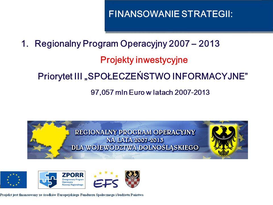 FINANSOWANIE STRATEGII: 1.Regionalny Program Operacyjny 2007 – 2013 Projekty inwestycyjne Priorytet III SPOŁECZEŃSTWO INFORMACYJNE 97,057 mln Euro w l