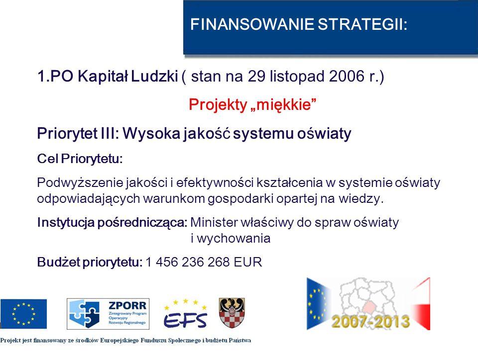 FINANSOWANIE STRATEGII: 1.PO Kapitał Ludzki ( stan na 29 listopad 2006 r.) Projekty miękkie Priorytet III: Wysoka jakość systemu oświaty Cel Priorytet