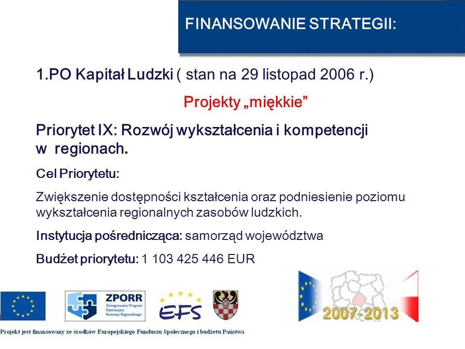 FINANSOWANIE STRATEGII: 1.PO Kapitał Ludzki ( stan na 29 listopad 2006 r.) Projekty miękkie Priorytet IX: Rozwój wykształcenia i kompetencji w regiona