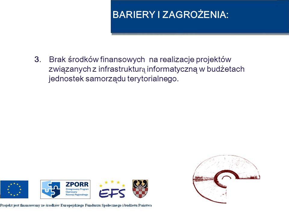 BARIERY I ZAGROŻENIA: 3. Brak środków finansowych na realizacje projektów związanych z infrastruktur ą informatyczną w budżetach jednostek samorządu t