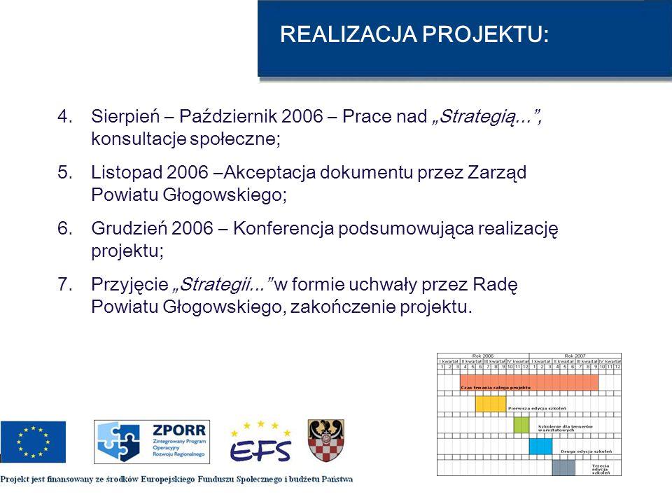 REALIZACJA PROJEKTU: 4.Sierpień – Październik 2006 – Prace nad Strategią..., konsultacje społeczne; 5.Listopad 2006 –Akceptacja dokumentu przez Zarząd