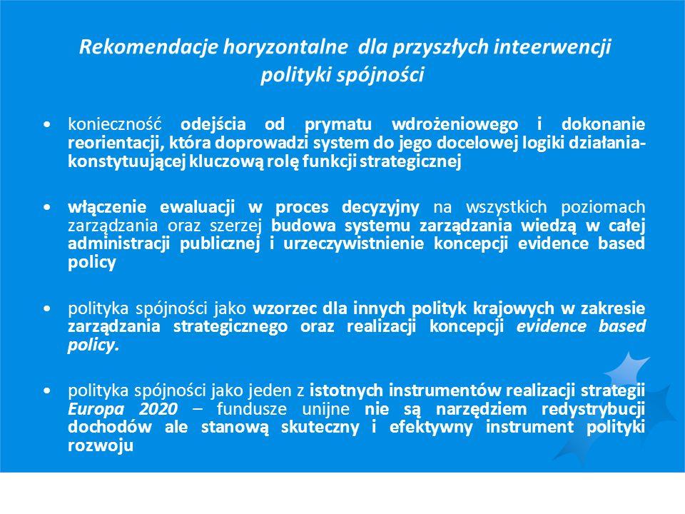 Rekomendacje horyzontalne dla przyszłych inteerwencji polityki spójności konieczność odejścia od prymatu wdrożeniowego i dokonanie reorientacji, która
