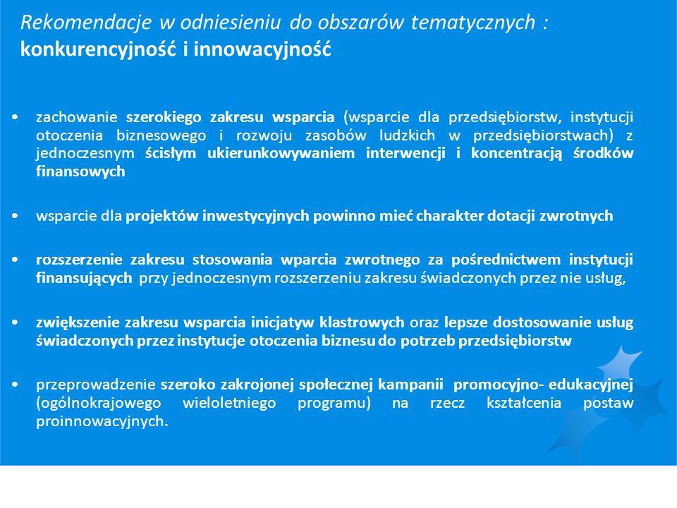 Rekomendacje w odniesieniu do obszarów tematycznych : konkurencyjność i innowacyjność zachowanie szerokiego zakresu wsparcia (wsparcie dla przedsiębio