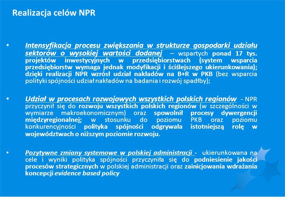 Realizacja celów NPR Intensyfikacja procesu zwiększania w strukturze gospodarki udziału sektorów o wysokiej wartości dodanej – wspartych ponad 17 tys.