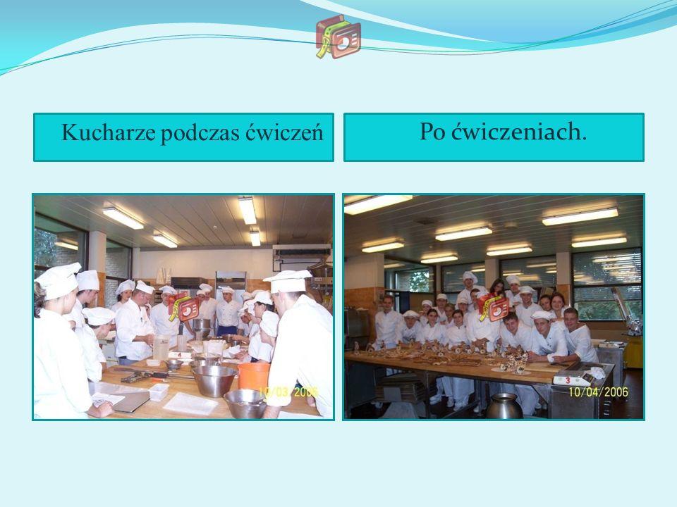 Kucharze podczas ćwiczeń Po ćwiczeniach.