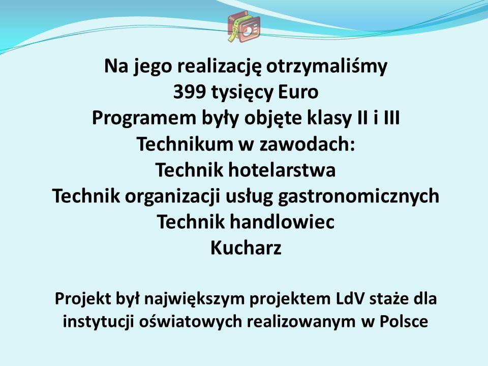 Na jego realizację otrzymaliśmy 399 tysięcy Euro Programem były objęte klasy II i III Technikum w zawodach: Technik hotelarstwa Technik organizacji us