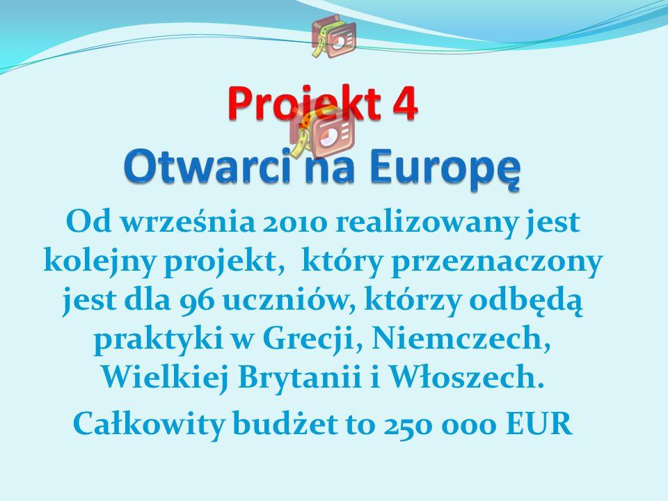 Od września 2010 realizowany jest kolejny projekt, który przeznaczony jest dla 96 uczniów, którzy odbędą praktyki w Grecji, Niemczech, Wielkiej Brytan