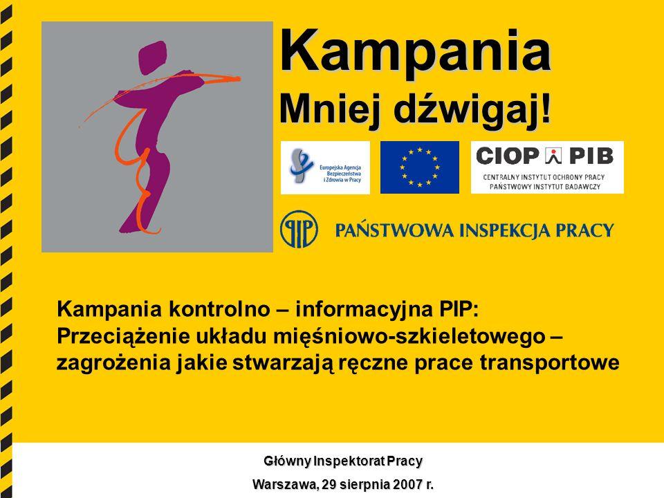 1 Kampania Mniej dźwigaj! Kampania kontrolno – informacyjna PIP: Przeciążenie układu mięśniowo-szkieletowego – zagrożenia jakie stwarzają ręczne prace