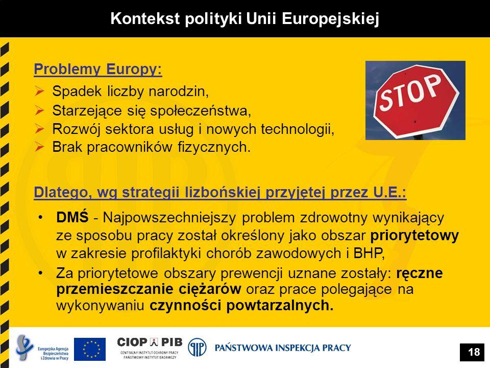 18 Kontekst polityki Unii Europejskiej Problemy Europy: Spadek liczby narodzin, Starzejące się społeczeństwa, Rozwój sektora usług i nowych technologi