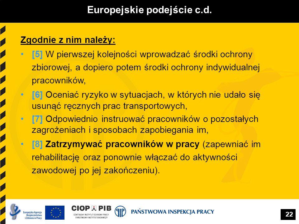 22 Europejskie podejście c.d. Zgodnie z nim należy: [5] W pierwszej kolejności wprowadzać środki ochrony zbiorowej, a dopiero potem środki ochrony ind