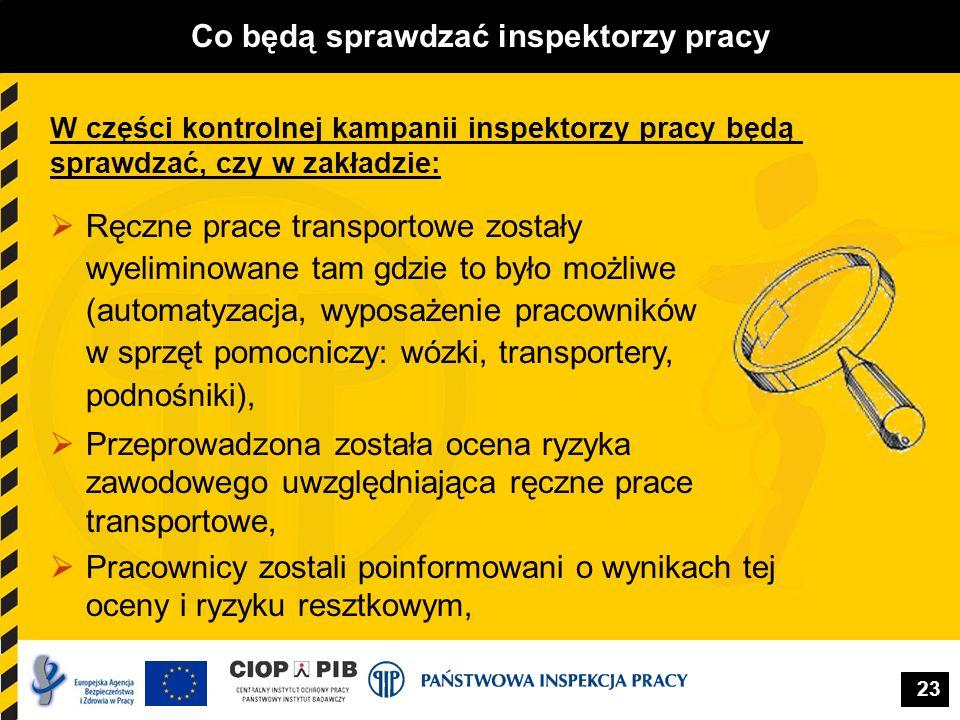 23 Co będą sprawdzać inspektorzy pracy Ręczne prace transportowe zostały wyeliminowane tam gdzie to było możliwe (automatyzacja, wyposażenie pracownik