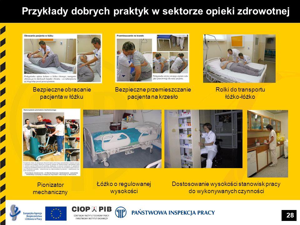 28 Przykłady dobrych praktyk w sektorze opieki zdrowotnej Rolki do transportu łóżko-łóżko Bezpieczne przemieszczanie pacjenta na krzesło Bezpieczne ob