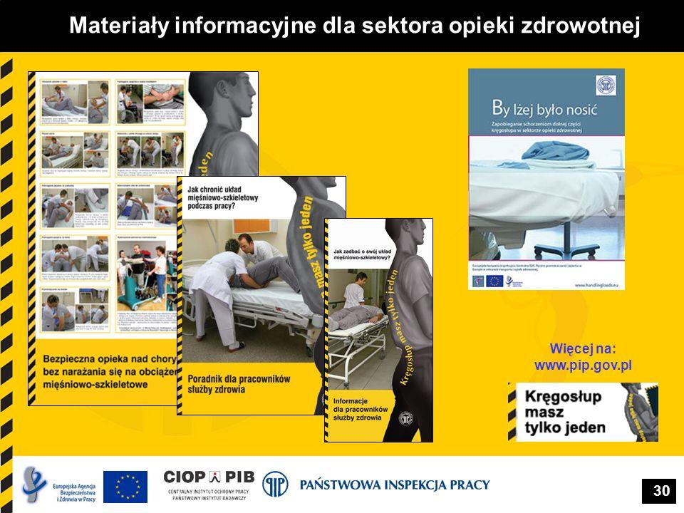 30 Materiały informacyjne dla sektora opieki zdrowotnej Więcej na: www.pip.gov.pl