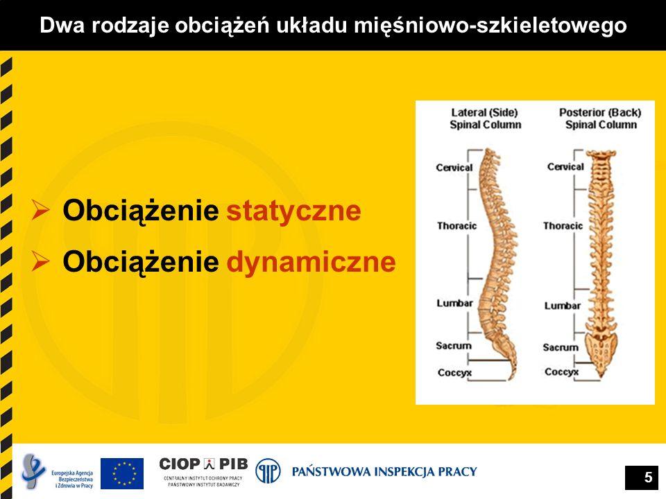 5 Dwa rodzaje obciążeń układu mięśniowo-szkieletowego Obciążenie statyczne Obciążenie dynamiczne