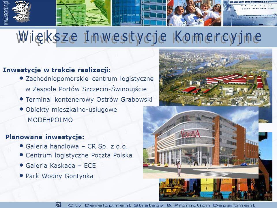 Zachodniopomorskie centrum logistyczne w Zespole Portów Szczecin-Świnoujście Terminal kontenerowy Ostrów Grabowski Obiekty mieszkalno-usługowe MODEHPOLMO Inwestycje w trakcie realizacji: Galeria handlowa – CR Sp.