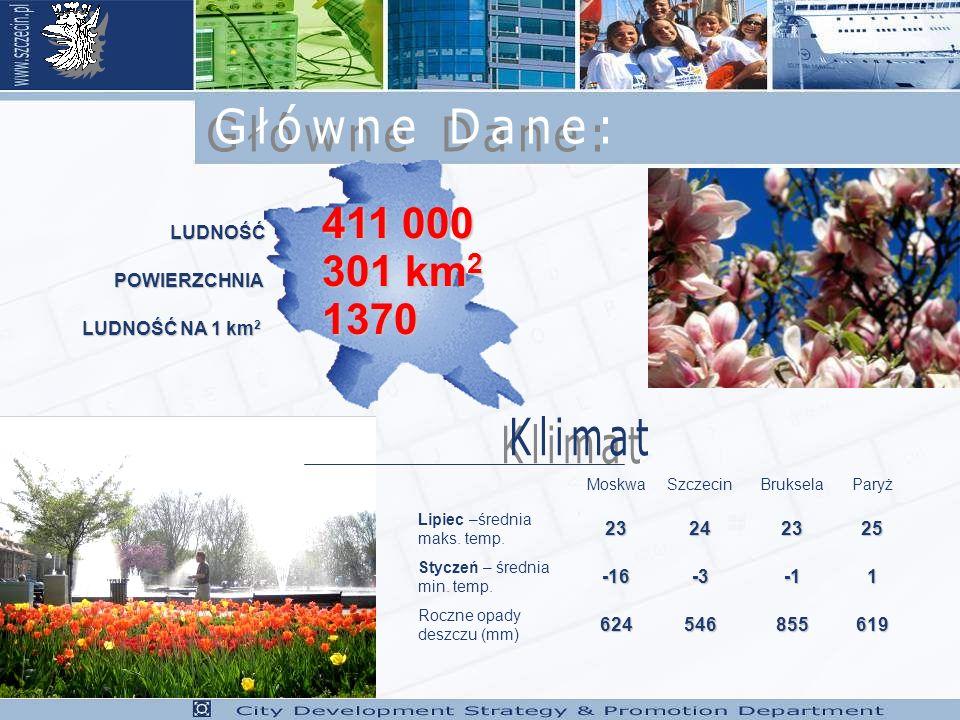 MoskwaSzczecinBrukselaParyż Lipiec –średnia maks.temp.23242325 Styczeń – średnia min.