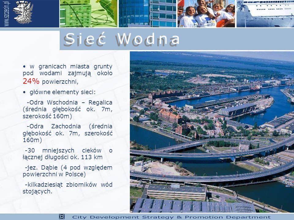 w granicach miasta grunty pod wodami zajmują około 24% powierzchni, główne elementy sieci: -Odra Wschodnia – Regalica (średnia głębokość ok.