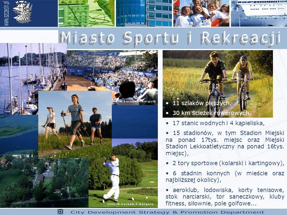 11 szlaków pieszych, 30 km ścieżek rowerowych, 17 stanic wodnych i 4 kąpieliska, 15 stadionów, w tym Stadion Miejski na ponad 17tys.